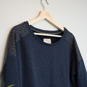 Esprit Navy Sweater with Brass-Studded Sleeves